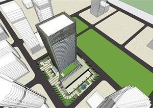 现代风格办公 办公楼模型