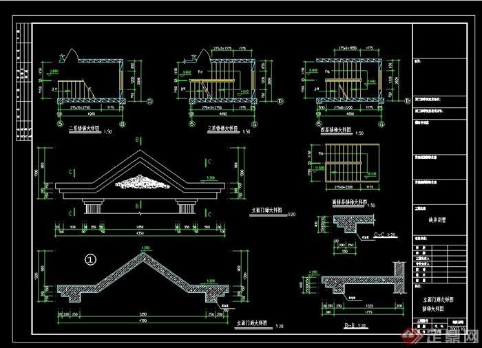 详细的欧式独栋整体水印拍卖cad施工图山城别墅别墅设计图片