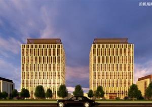现代风格办公、公寓、酒店建筑SU(草图大师)模型