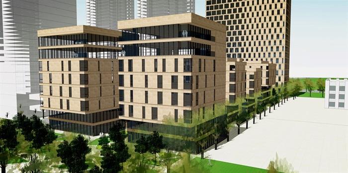 办公楼 现代风格办公楼模型[原创]