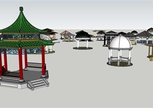 各种风格集合亭子素材设计SU(草图大师)模型