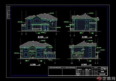 歐式風格詳細兩層別墅建筑設計cad施工圖天正打開