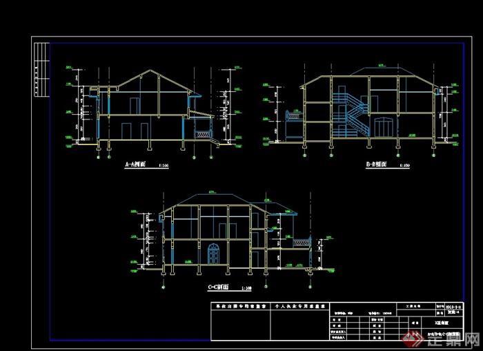 欧式风格详细两层别墅建筑设计cad施工图天正打开