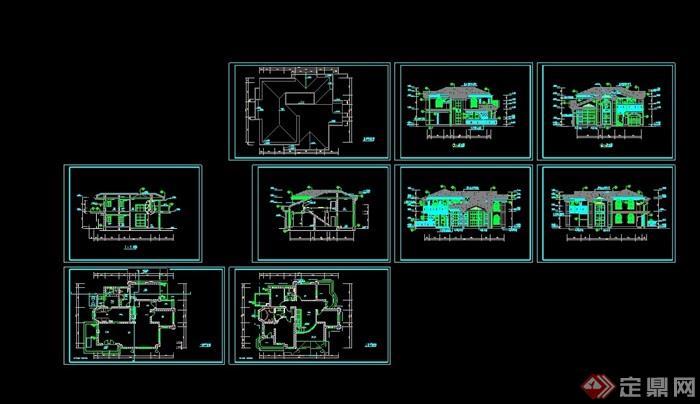 欧式风格详细的两层住宅详细别墅设计cad施工图