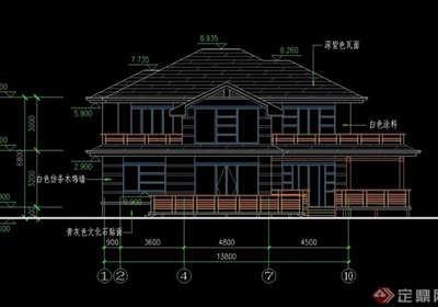 歐式風格詳細的兩層住宅別墅設計cad方案