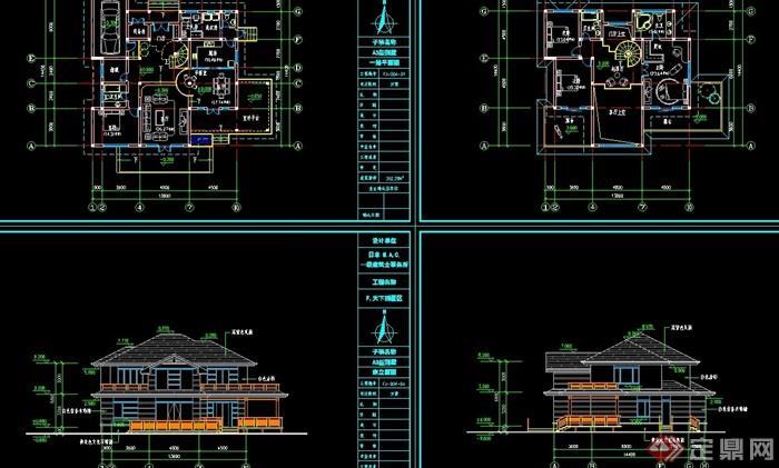 欧式风格详细的两层住宅别墅设计cad方案
