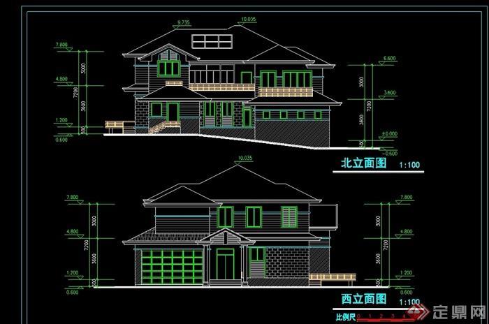欧式风格两层别墅设计cad方案