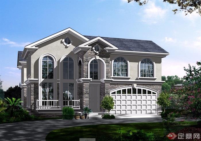 详细的完整欧式两层别墅设计cad方案及效果图