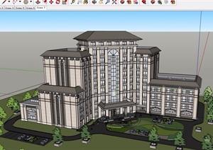 某中式独特详细的酒店建筑楼设计SU(草图大师)模型