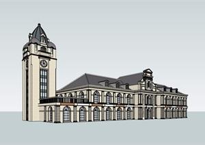 法式龙溪水岸建筑会所会所设计SU(草图大师)模型