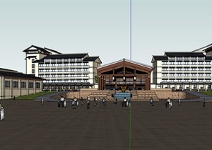 东南亚风格酒店详细完整设计SU(草图大师)模型