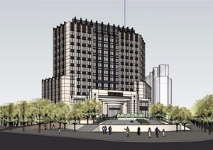 新古典风格详细的多层酒店详细设计SU(草图大师)模型