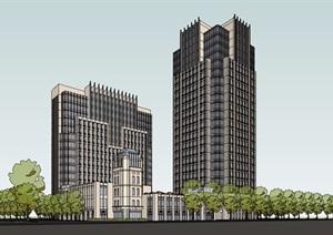 新古典风格商业办公酒店综合楼设计SU(草图大师)模型