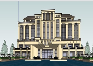 详细的新古典风格酒店设计SU(草图大师)模型