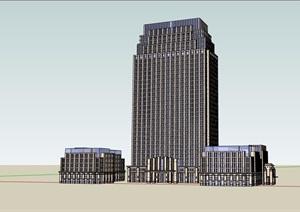 新古典办公楼详细建筑设计SU(草图大师)模型