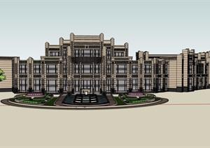 某新古典风格大公馆会所设计SU(草图大师)模型