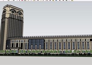 欧式风格独特造型的酒店建筑SU(草图大师)模型