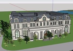 法式风格详细的售楼处详细设计SU(草图大师)模型