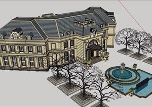 街角法式风格会所详细建筑设计SU(草图大师)模型
