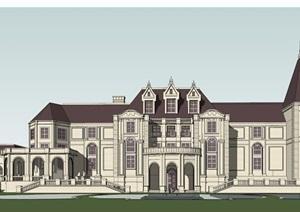 某详细的英式风格会所俱乐部建筑设计SU(草图大师)模型
