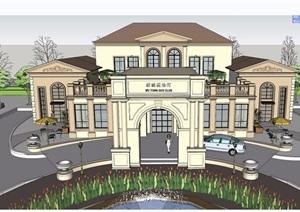 欧式风格详细的整体会所建筑设计SU(草图大师)模型