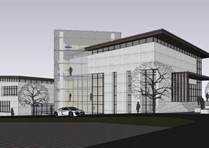 详细的整体完整会所详细建筑设计SU(草图大师)模型