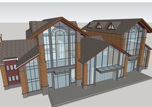 会所详细的多层建筑设计SU(草图大师)模型
