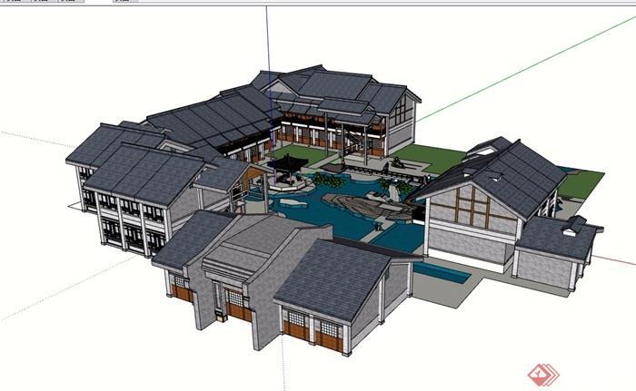 模型建筑所详细v模型su徽派cs6的ps绘制如何分析图图片