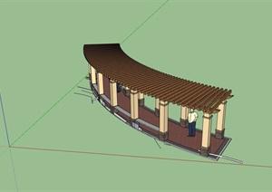 现代风格详细的景观节点廊架素材设计SU(草图大师)模型