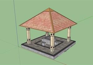 欧式风格详细的完整亭子素材设计SU(草图大师)模型