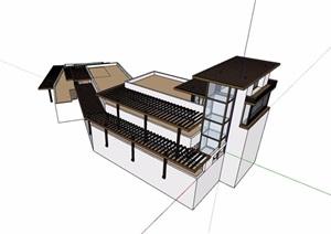 详细的整体完整商务会所设计SU(草图大师)模型