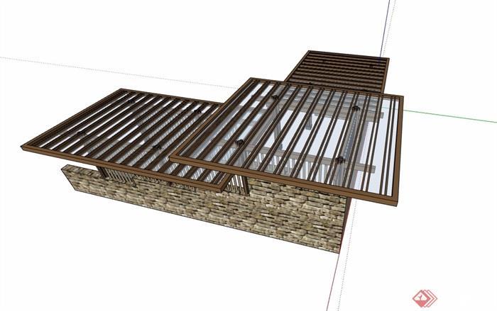 景观节点玻璃廊架素材设计su模型