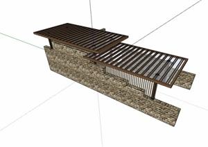 园林景观独特廊架节点素材设计SU(草图大师)模型