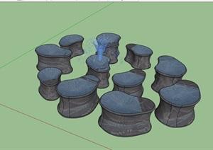 园林景观节点喷泉小品素材设计SU(草图大师)模型