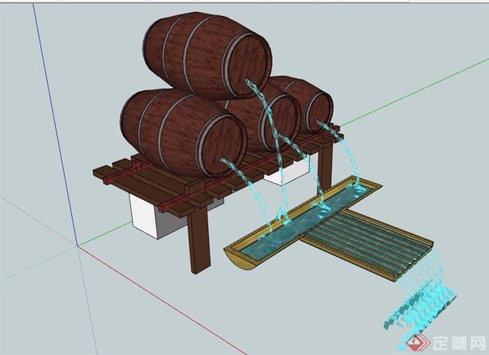 园林景观酒桶小品水景素材设计su模型
