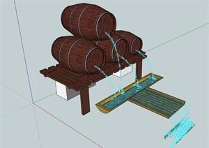 园林景观酒桶小品水景素材设计SU(草图大师)模型