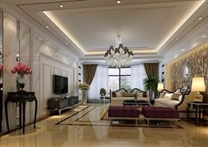 详细的完整客厅欧式装饰设计3d模型及效果图