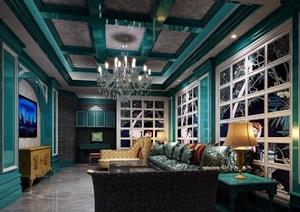 欧式风格详细的整体客厅装饰设计3d模型及效果图