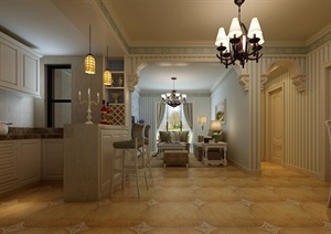 某北欧风格详细的客厅室内装饰设计3d模型及效果图
