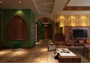 详细的整体完整住宅室内你客厅装饰设计3d模型及效果图