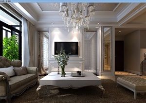 美式风格详细的住宅室内客厅装饰设计3d模型及效果图