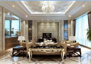 北美详细的住宅室内客厅装饰设计3d模型