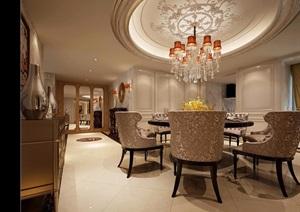 详细的完整客厅餐厅空间装饰设计3d模型及效果图