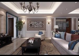 详细的整体行动客厅装饰设计3d模型