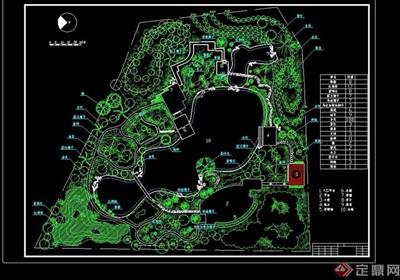 详细的现代小游园景观详细cad总平面图