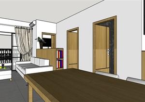 90平米商品房现代日式北欧风室内装修设计SU(草图大师)精细模型