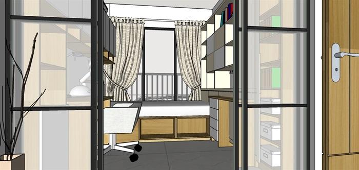 90平米商品房现代日式北欧风室内装修设计(4)