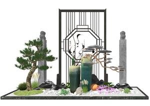 新中式景观小品 庭院小品 陶罐植物组合SU(草图大师)模型