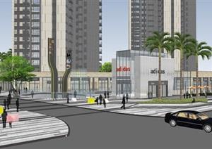 现代商业中心建筑及景观设计SU(草图大师)全模