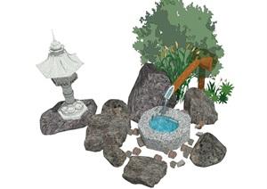 日式景观小品 庭院小品 石头 植物组合SU(草图大师)模型